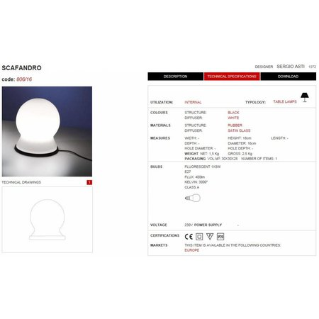 Martinelli Luce SCAFANDRO - Tafellamp - Wit