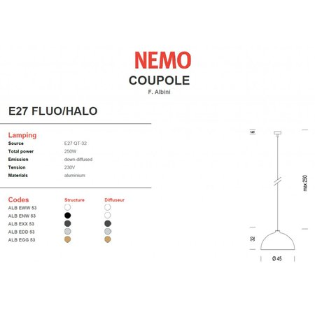Nemo Hanging Lamp - Coupole - White