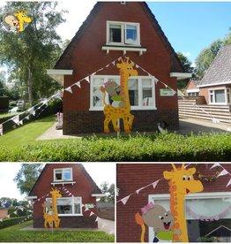 Romkje Geboortebord: Baby op giraffe