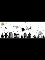 Romkje Statische Raamstickers Huisjes & Kerst