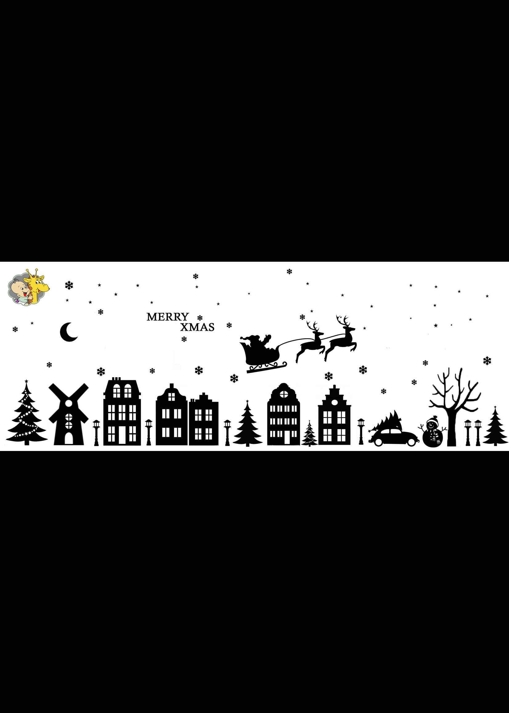 Romkje Statische Raamdecoratie Huisjes & Kerst
