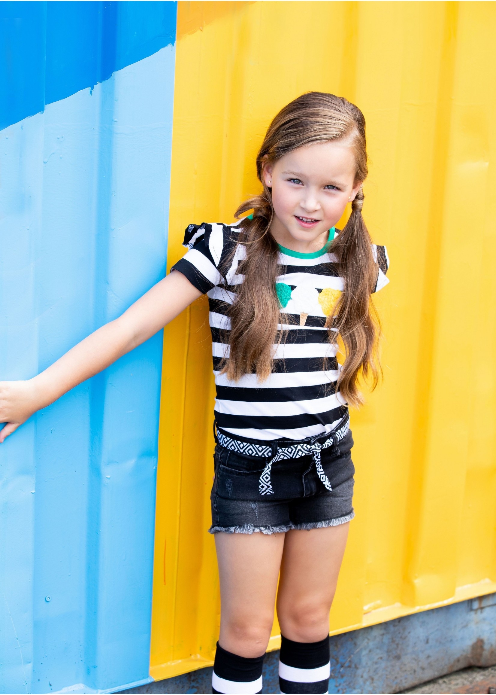 B.nosy Shirt Cheer Black White Stripe
