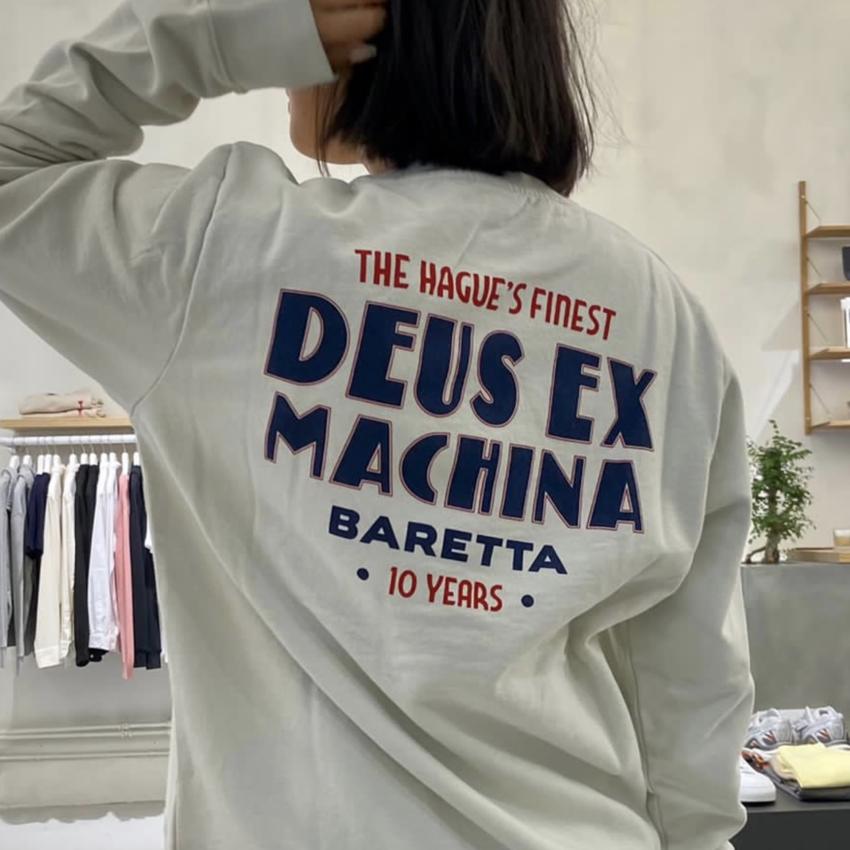 Deus Ex Machina Baretta x Deus '10 Year Anniversary' Crew Vintage White