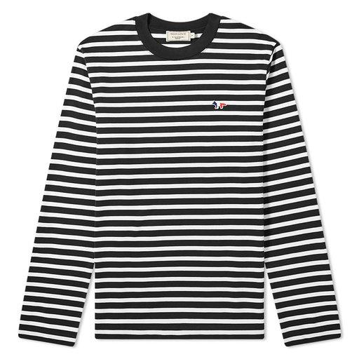 Maison Kitsuné  Long Sleeve Tricolour Fox Stripe Tee Black & White