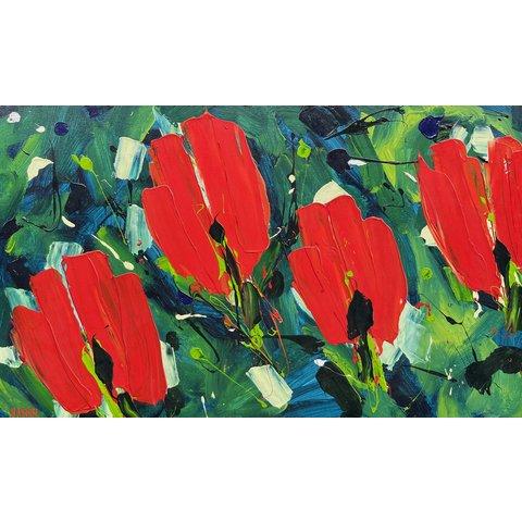 Ad van Hassel | Rode tulpen in het groen