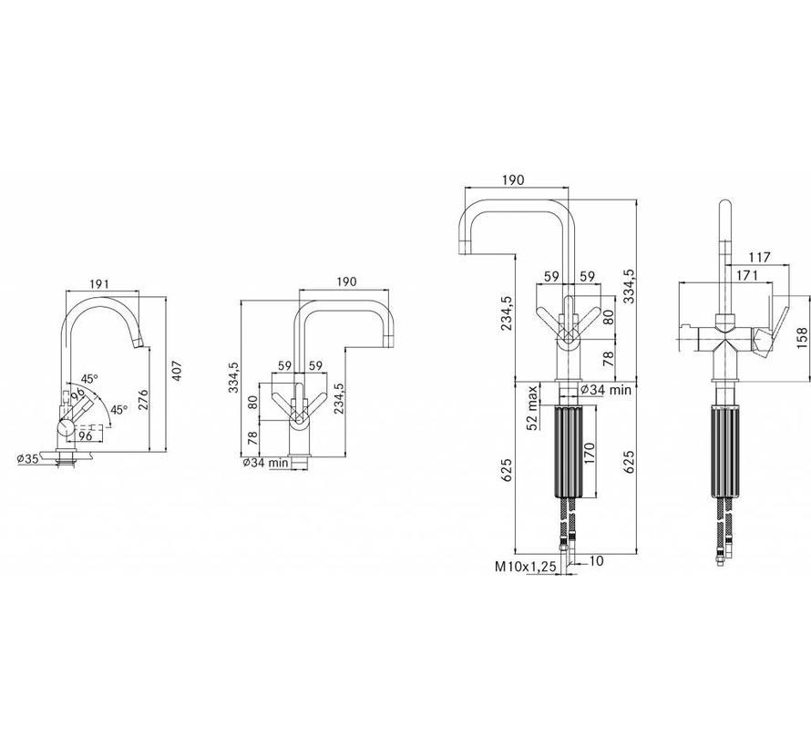 Premium3 Twist Irena chroom met Combi-S boiler
