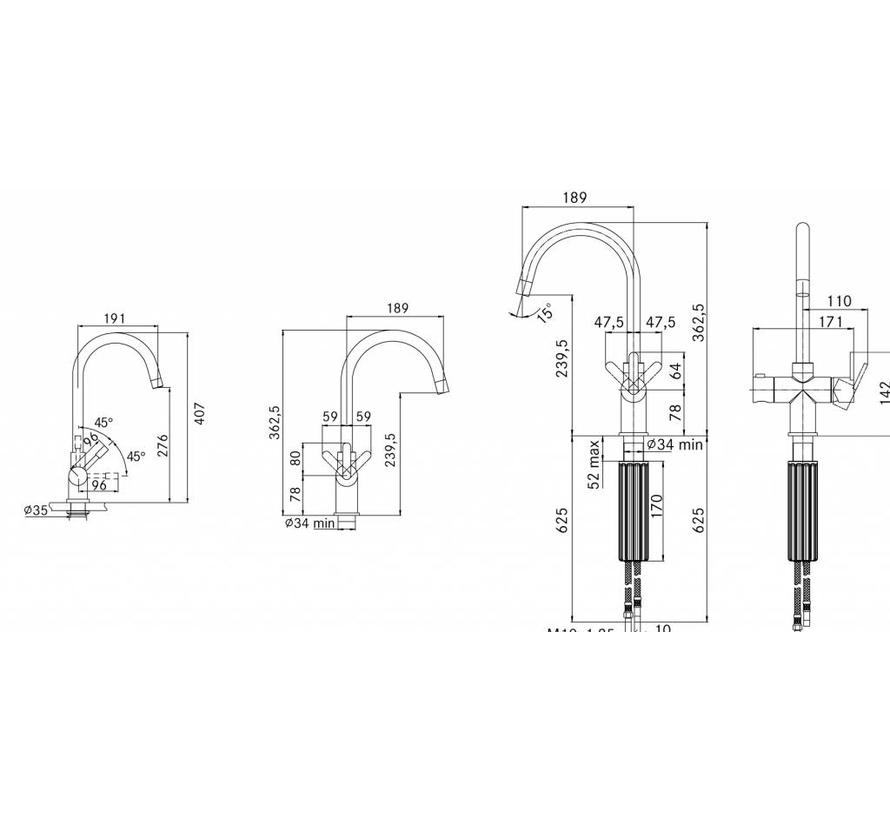 Premium3 Twist Minerva chroom met Combi-S boiler