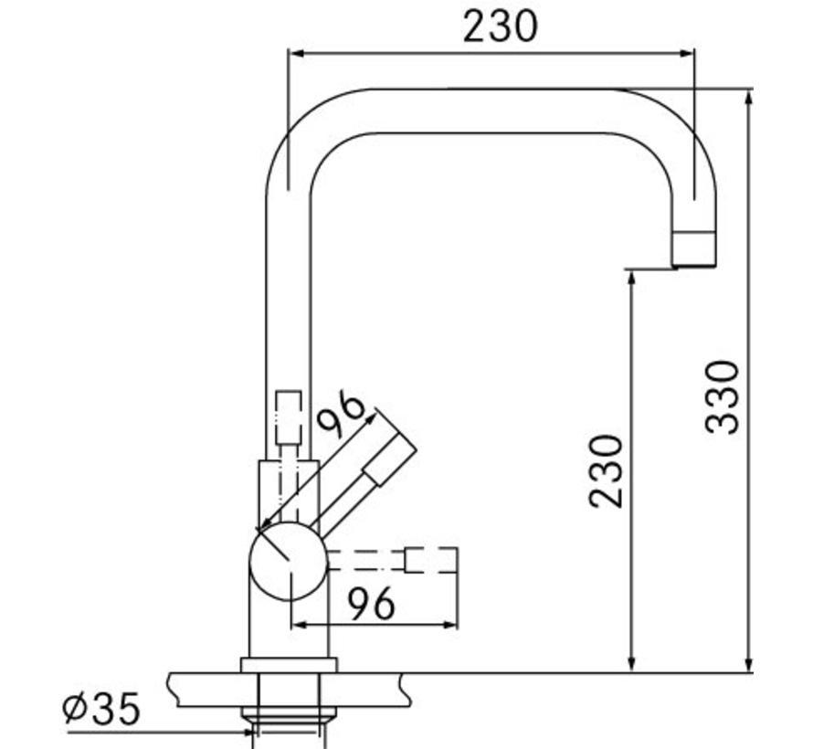 Premium3 Twist Pollux RVS met Combi-S boiler