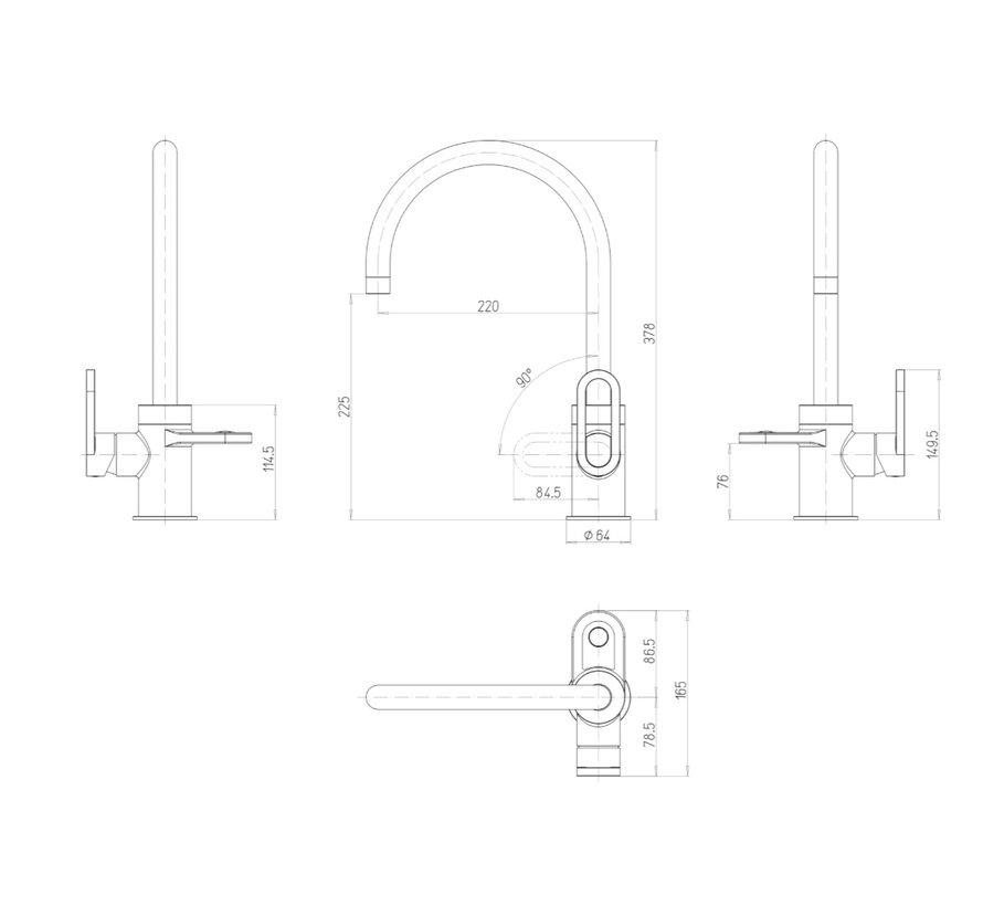 Alessio 3-in-1 kokend water kraan RVS  4 liter