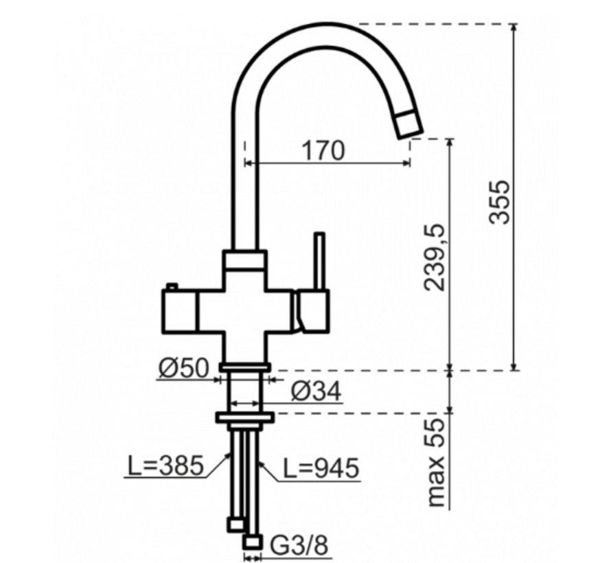 Round Chroom met Combi boiler 5 liter