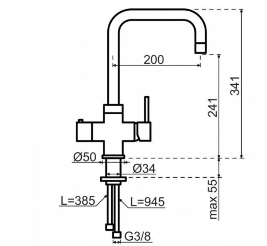 Haaks Chroom met Combi boiler 5 liter