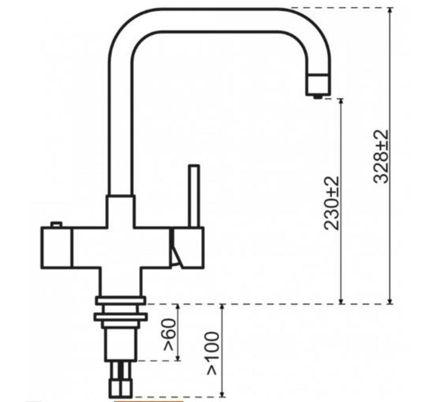 Haakse RVS kraan met Combi boiler