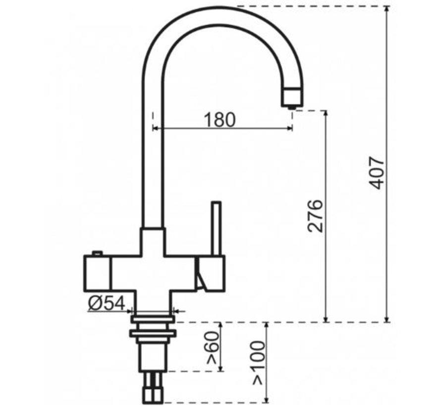 Round RVS met Combi boiler