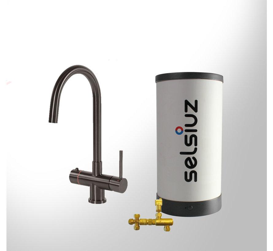 Gun Metal Rond met Combi boiler 5 liter