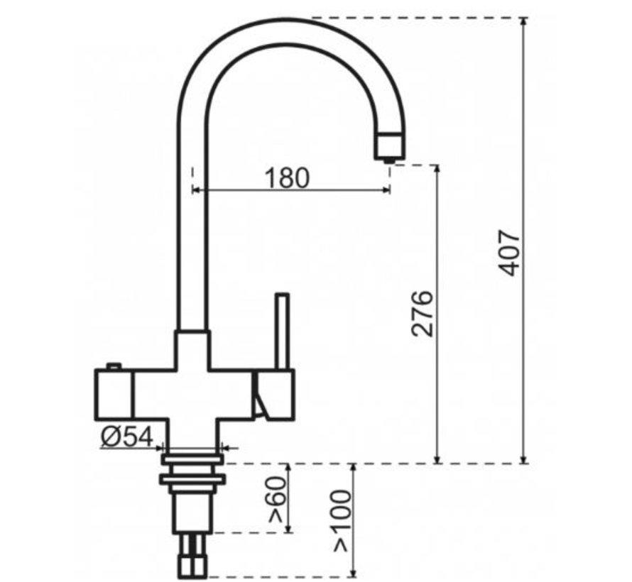 Gun Metal Rond met Titanium Combi Extra boiler 5 liter