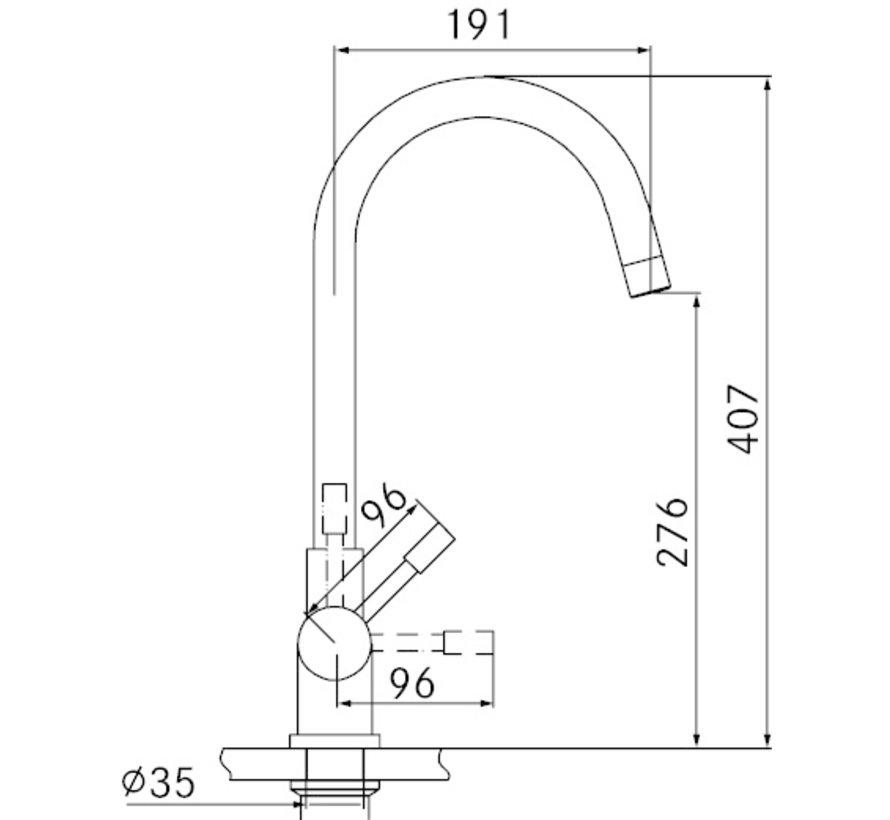 Perfect 5 Touch Helix Black met Combi-S boiler