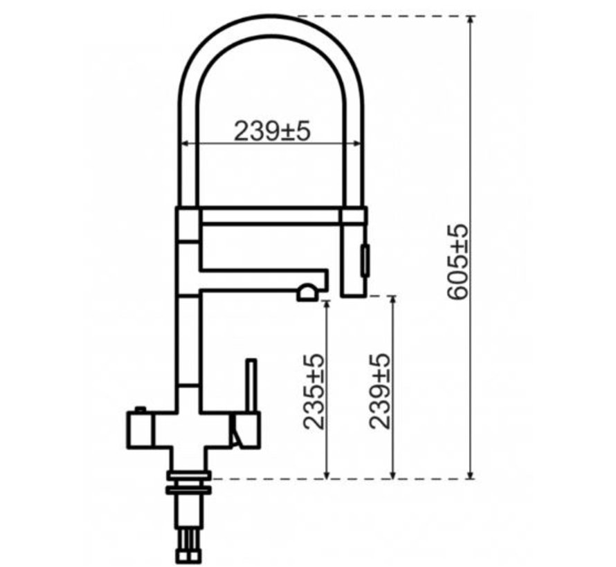 XL 3-in-1 RVS kraan met Single Titanium boiler