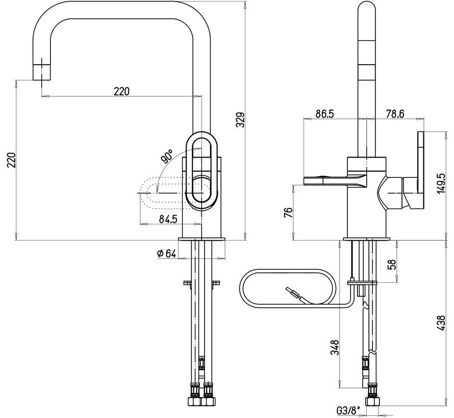 Adrianna 3-in-1 kokend water kraan  Black 8 liter