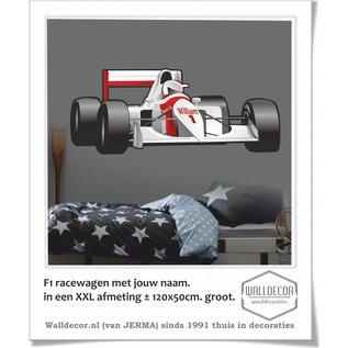 Walldecor F1 Racewagen met je naam in een XXL afmeting
