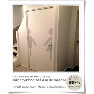 Raam-, Wand decoratiesticker wc aanduiding wc sticker Toilet sticker symbool pictogram aanduiding duo (halve) Man & Vrouw.