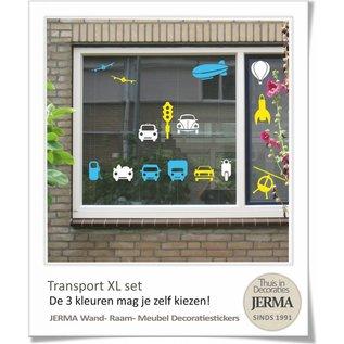 JERMA - Decoratie Auto muurstickers kinderkamer Transport thema decoratie stickers XL set.