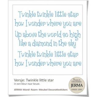 Twinkle star, plakbare tekst met 3 sterren voor op de wanden, raamen of meubels