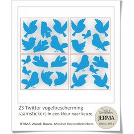 Raam-, Wand decoratiesticker Twitterende vogel raamsticker set