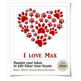 JERMA - Decoratie hondenhok sticker dieren decoratie Pootjes in hart vorm met tekst