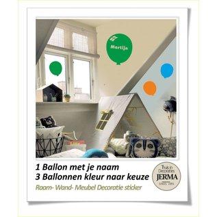 Raam-, Wand decoratiesticker Ballon decoraties stickers met je naam of andere tekst