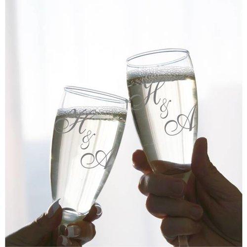 Flûtes à Champagne avec Monogramme