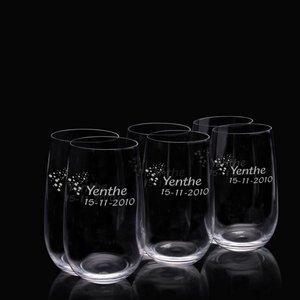 Verres long drink en verre cristal avec texte
