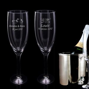 Reuze Champagneglas met gravering