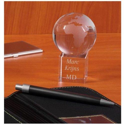Presse Papier Globe met gravering