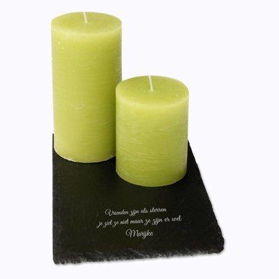 Kaarsen set op leisteen met gravering