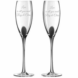 Champagneflutes Drip met gravering
