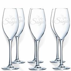 Flûtes à Champagne Cristal d'Arques gravées