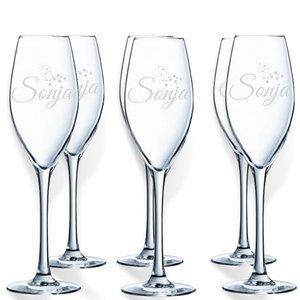 Champagneglazen Crystal d'Arques met gravering
