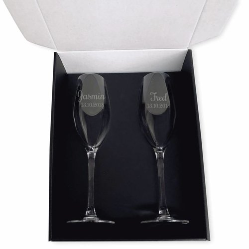 Champagneglazen set Da Vinci met gravering
