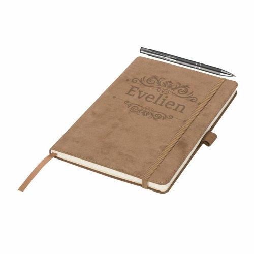 Suède notitieboek gepersonaliseerd