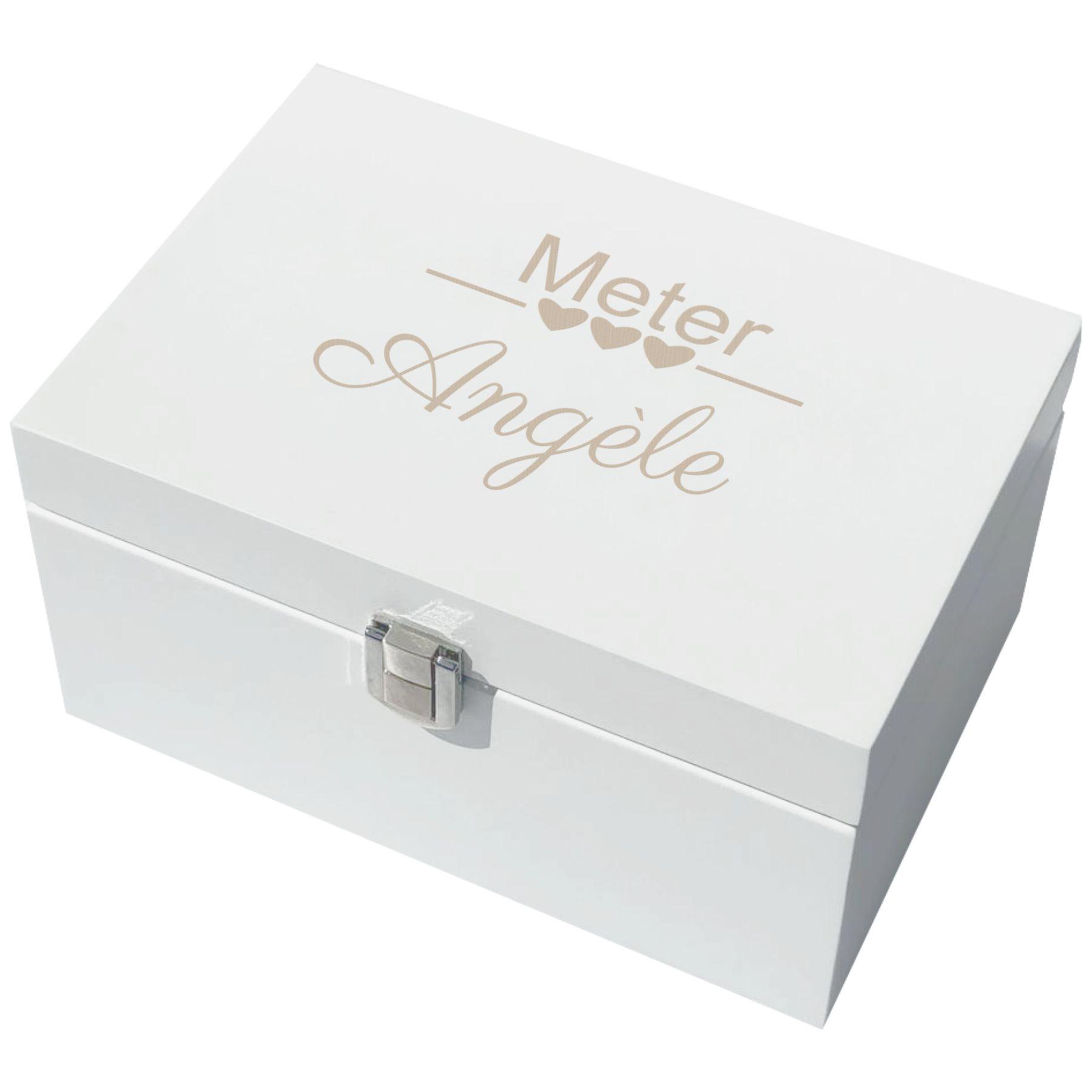 Coffret à bijoux en bois laqué blanc personnalisé avec votre nom