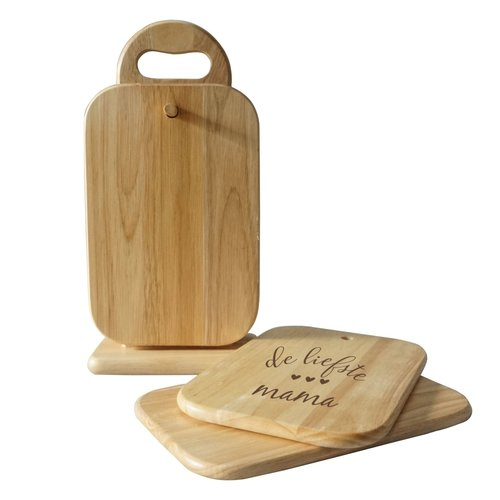 6 houten snijplankjes met houder