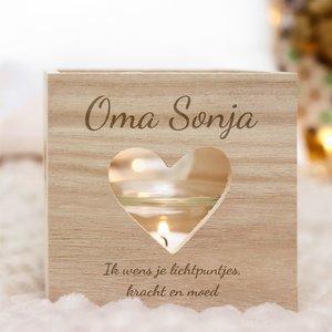 Bougeoir cœur en bois avec gravure