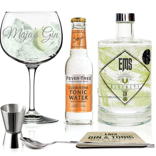 EMS Gin geschenkpakket met gepersonaliseerd Gin glas