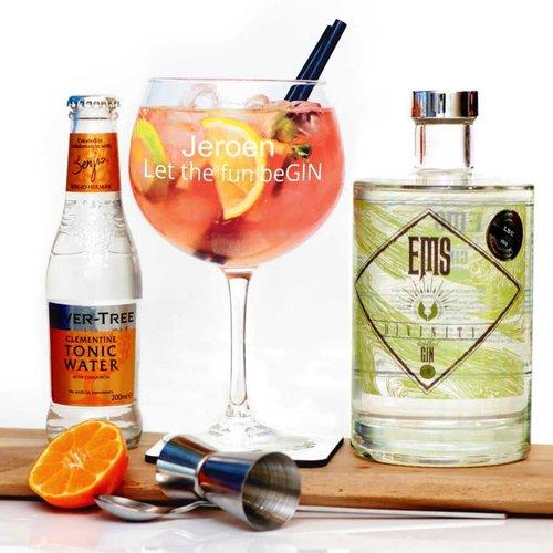 Ensemble cadeau Gin EMS avec verre de Gin personnalisé