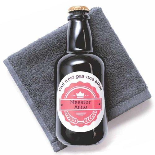 Douchegel in gepersonaliseerd bierflesje en handdoekje