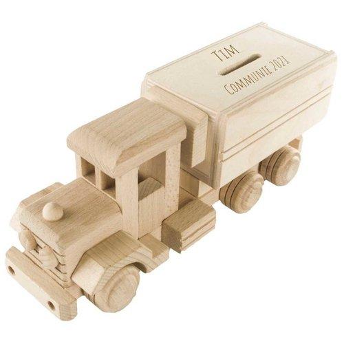 Tirelire camion en bois gravé avec nom