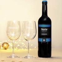 Rode Wijn Cadeau Set met gegraveerde glazen