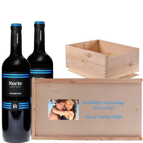 Caisse à Vin Duo vin rouge avec photo