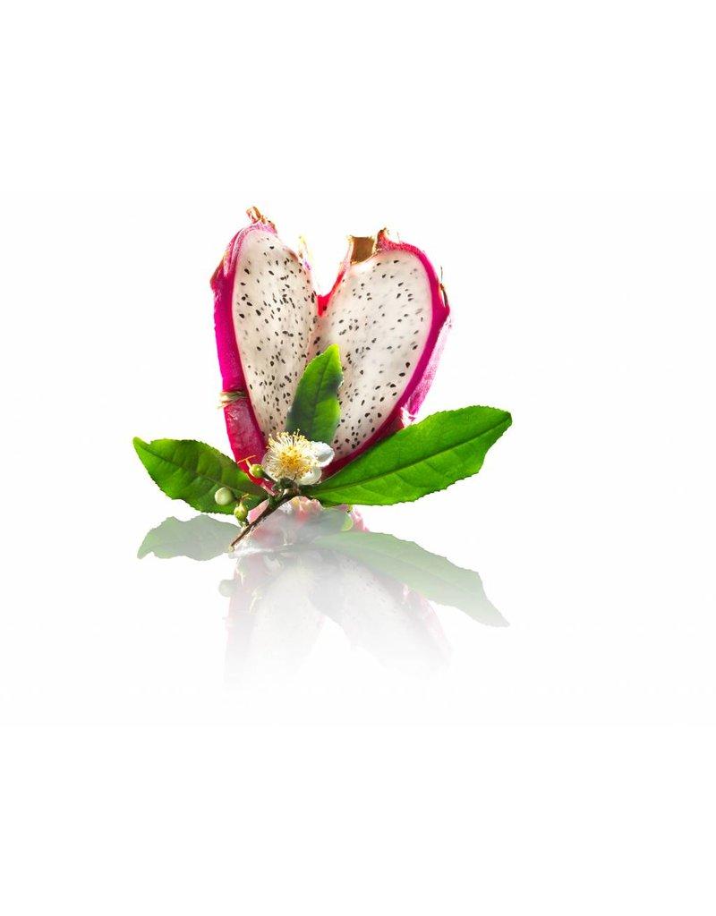Fruit Emotions giftset: scrub handschoen, douchegel, body butter, drakenvrucht-witte thee