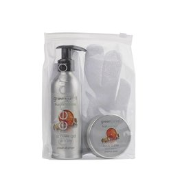 Fruit Emotions, giftset: scrub handschoen, douchegel, body butter, grapefruit - gember